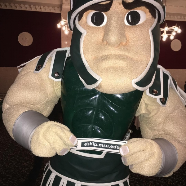 Even Sparty visited our table at #MarathonOfMajors! Thanks to all who stopped by tonight. #ESHIP #entrepreneurship #innovation