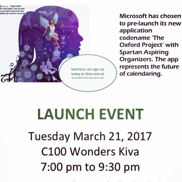 #Microsoft is partnering with Spartan Aspiring Organizers to give you the future of calendaring. Be a part of the future! Join us for an info session tomorrow at 7pm. #Microsoft #innovation