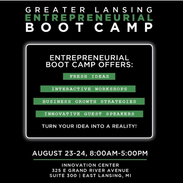 Whether you're a rookie or a professional, we invite you to join us for our #GreaterLansingEntrepreneurialBootcamp. This two-day workshop is both informative and interactive, and occurs August 23-24 at the MSU Innovation Center in East Lansing. https://eshipbootcamp2017.eventbrite.com/ #RSVP #MSU #LoveLansing #entrepreneurship