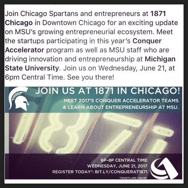 Are you a #Spartan in #Chicago? Join us! @michiganstateu @1871chicago @conquer_accelerator