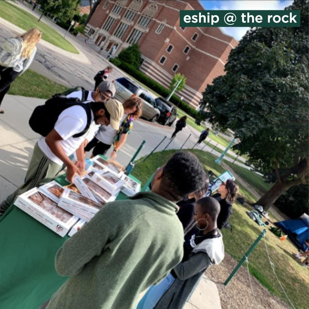 Today is our third #eshipattherock! Stop by to learn more about our program while snacking on @miblueowlcoffee and #lovelansing's @QualityDairy #doughnuts!💚🍩☕️