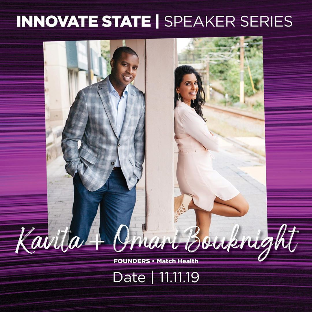 #InnovateState returns on November 11th, when we'll welcome Omari + Kavita Bouknight to the Gaynor Entrepreneurship Lab! Have you registered yet? Don't wait too long! Space is limited! 💡⚡️💚