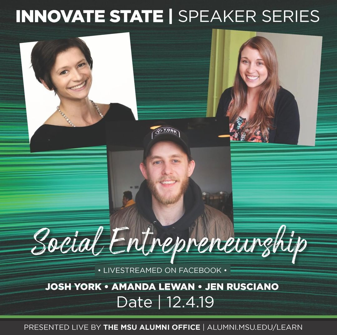We are excited to kick off the last innovate state of the year with a special Social Entrepreneurship edition ft. Josh York, Amanda Lewan, and Jen Rusciano! Join us on Wed., Dec. 4 at 6 p.m. in the Gaynor Entrepreneurship Lab!💡⚡️💚