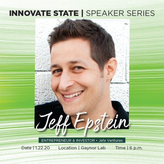 Our first #InnovateState of the #decade is next week! On Jan. 22nd at the Gaynor Entrepreneurship Lab, hear from #Spartan alumnus, attorney, entrepreneur, & investor, @jeff_epstein! 🚀💡⚡️ Doors open at 5:30 p.m., the event will begin at 6 p.m. sharp! #registertoday at eship.msu.edu/calendar